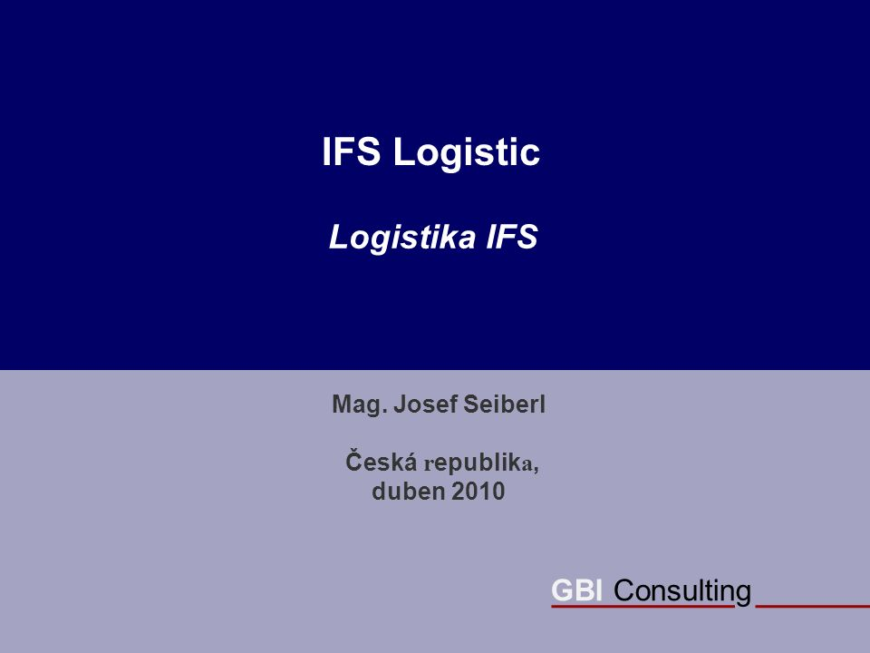 GBI Consulting IFS Logistic Mag.