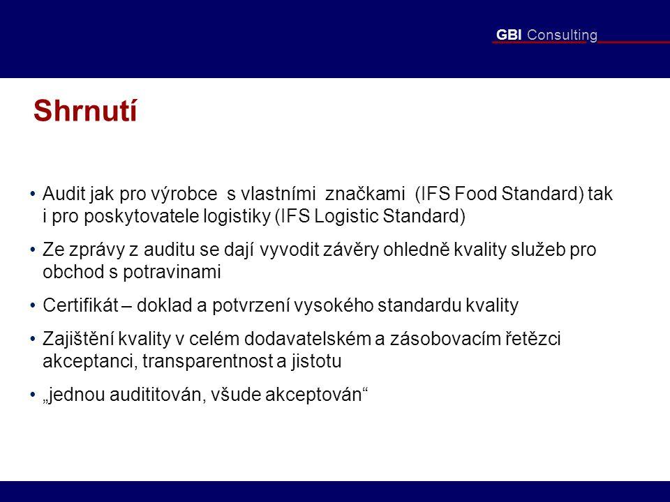 """GBI Consulting Shrnutí Audit jak pro výrobce s vlastními značkami (IFS Food Standard) tak i pro poskytovatele logistiky (IFS Logistic Standard) Ze zprávy z auditu se dají vyvodit závěry ohledně kvality služeb pro obchod s potravinami Certifikát – doklad a potvrzení vysokého standardu kvality Zajištění kvality v celém dodavatelském a zásobovacím řetězci akceptanci, transparentnost a jistotu """"jednou audititován, všude akceptován"""