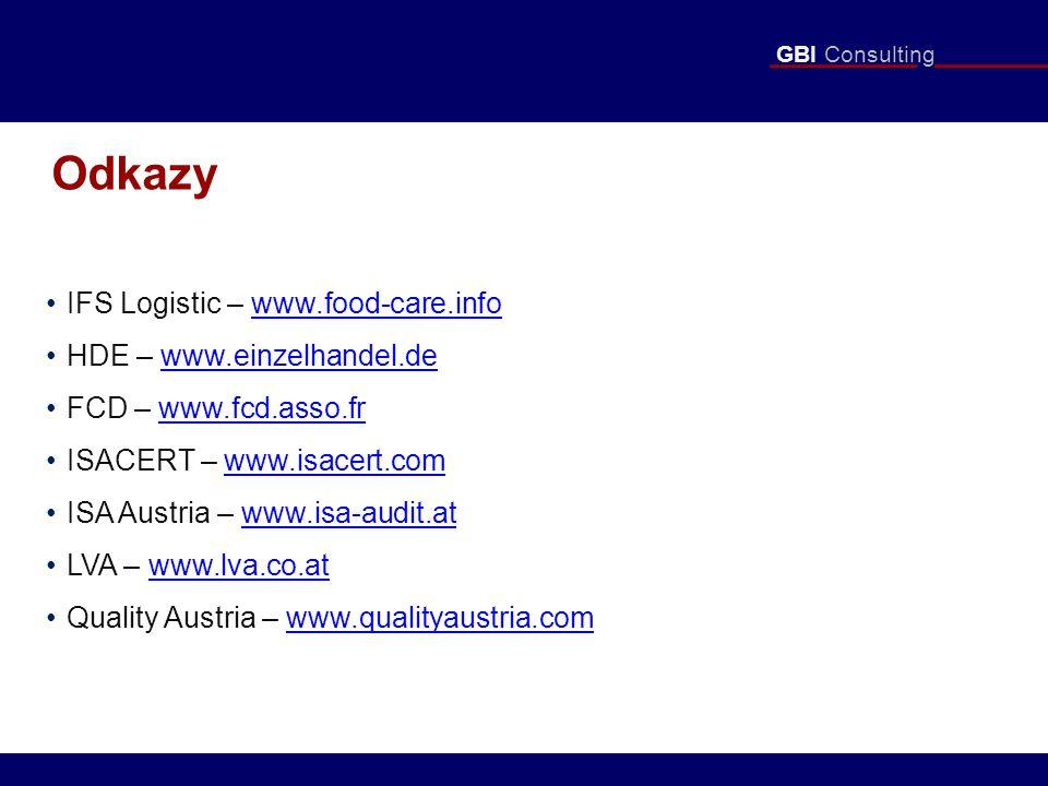 GBI Consulting Odkazy IFS Logistic – www.food-care.infowww.food-care.info HDE – www.einzelhandel.dewww.einzelhandel.de FCD – www.fcd.asso.frwww.fcd.asso.fr ISACERT – www.isacert.comwww.isacert.com ISA Austria – www.isa-audit.atwww.isa-audit.at LVA – www.lva.co.atwww.lva.co.at Quality Austria – www.qualityaustria.comwww.qualityaustria.com