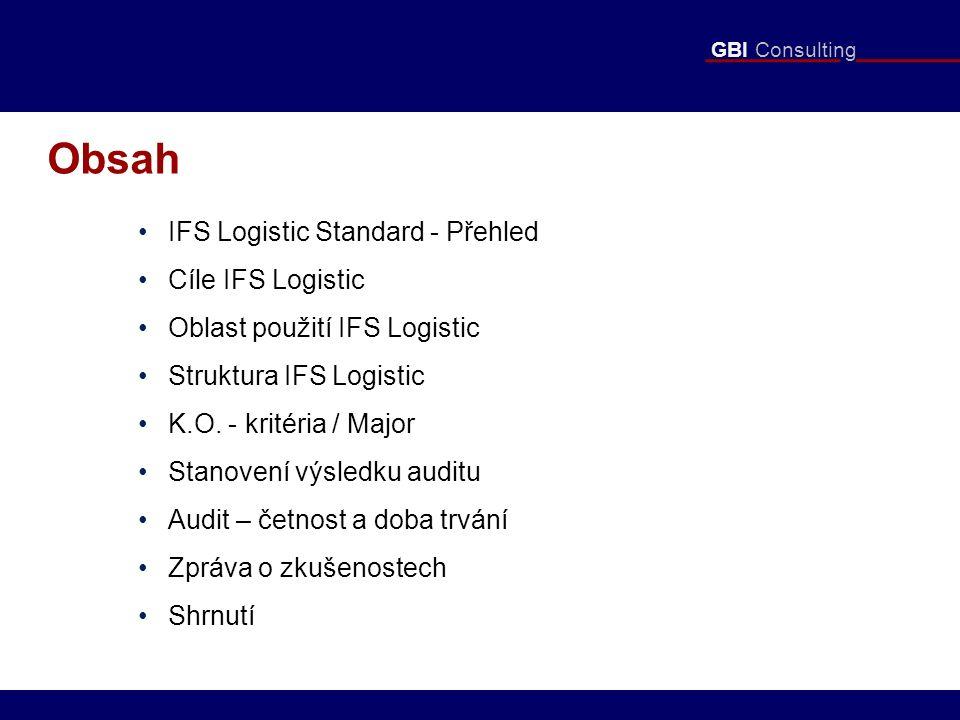 GBI Consulting Obsah IFS Logistic Standard - Přehled Cíle IFS Logistic Oblast použití IFS Logistic Struktura IFS Logistic K.O.