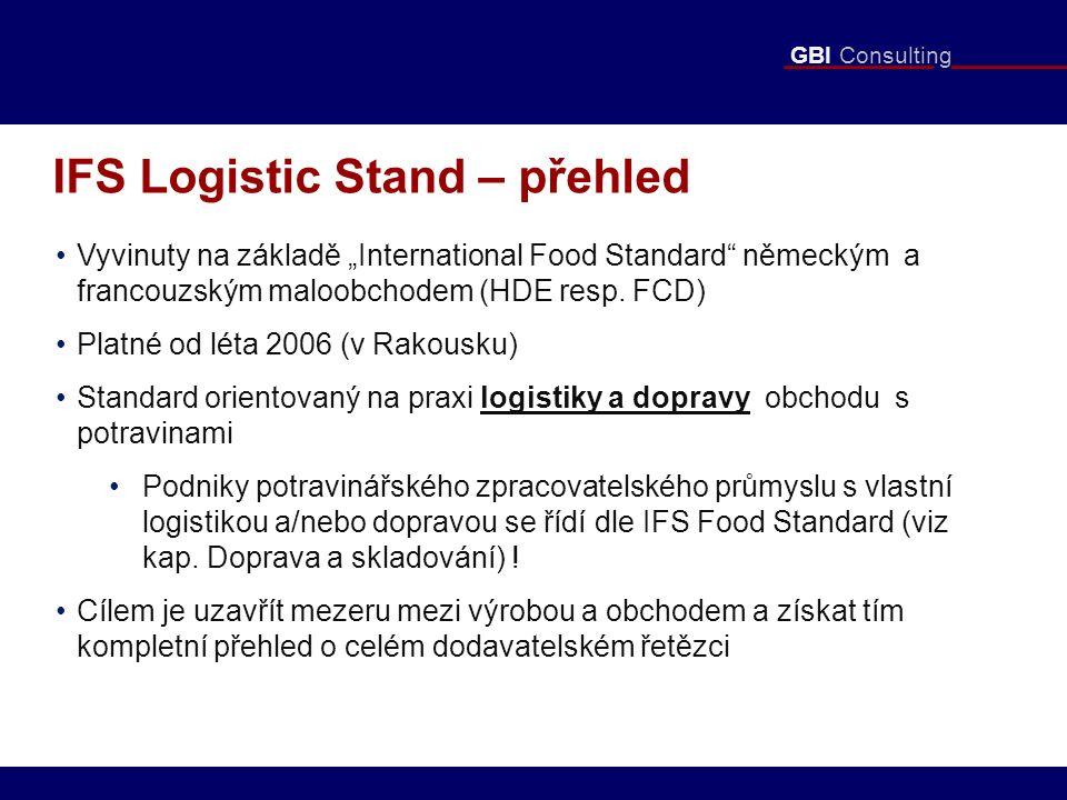 """GBI Consulting IFS Logistic Stand – přehled Vyvinuty na základě """"International Food Standard německým a francouzským maloobchodem (HDE resp."""