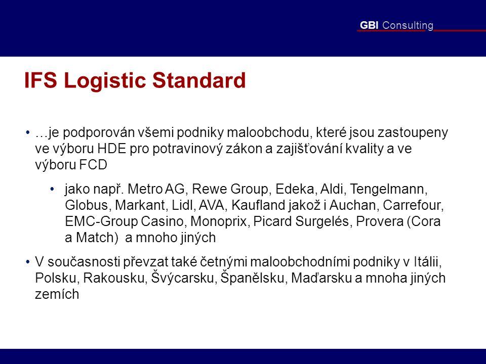GBI Consulting IFS Logistic Standard …je podporován všemi podniky maloobchodu, které jsou zastoupeny ve výboru HDE pro potravinový zákon a zajišťování kvality a ve výboru FCD jako např.
