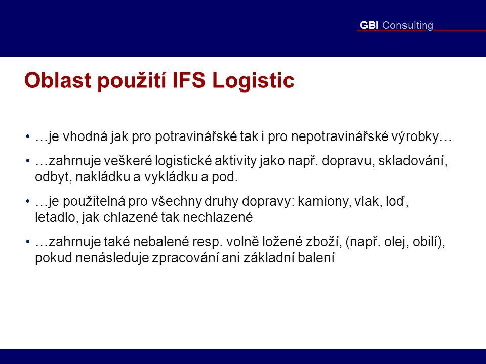 GBI Consulting Oblast použití IFS Logistic …je vhodná jak pro potravinářské tak i pro nepotravinářské výrobky… …zahrnuje veškeré logistické aktivity jako např.