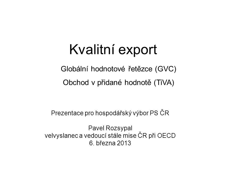 Kvalitní export Prezentace pro hospodářský výbor PS ČR Pavel Rozsypal velvyslanec a vedoucí stále mise ČR při OECD 6. března 2013 Globální hodnotové ř