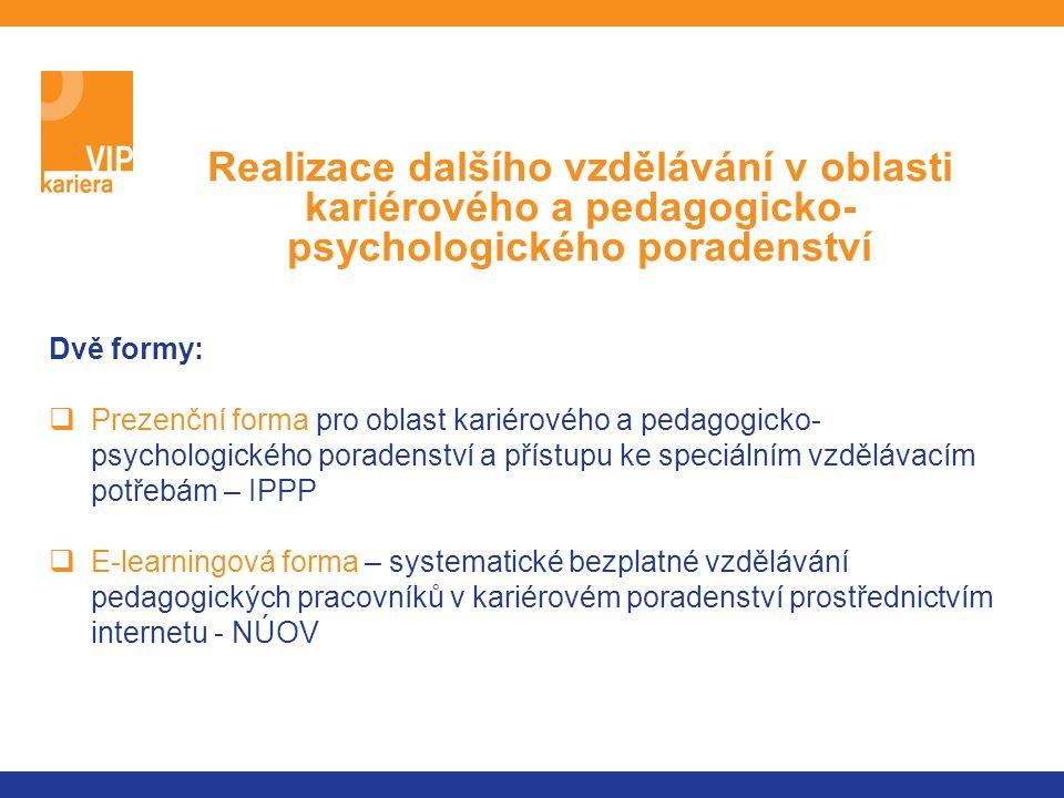 Dvě formy:  Prezenční forma pro oblast kariérového a pedagogicko- psychologického poradenství a přístupu ke speciálním vzdělávacím potřebám – IPPP  E-learningová forma – systematické bezplatné vzdělávání pedagogických pracovníků v kariérovém poradenství prostřednictvím internetu - NÚOV Realizace dalšího vzdělávání v oblasti kariérového a pedagogicko- psychologického poradenství