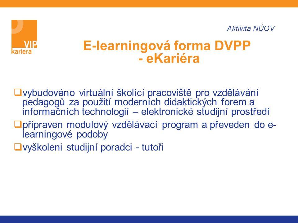  vybudováno virtuální školící pracoviště pro vzdělávání pedagogů za použití moderních didaktických forem a informačních technologií – elektronické studijní prostředí  připraven modulový vzdělávací program a převeden do e- learningové podoby  vyškoleni studijní poradci - tutoři E-learningová forma DVPP - eKariéra Aktivita NÚOV