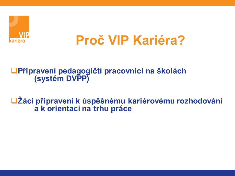  zvýšení celkového standardu služeb pedagogicko- psychologického a kariérového poradenství na školách  zkvalitnění poradenských služeb pro žáky se speciálními vzdělávacími potřebami  pedagogům základních a středních škol bude poskytnuto know how pro kariérové poradenství a vzdělávání  žáci získají kvalitnější poradenství a informace pro kariérové rozhodování Přínos projektu VIP Kariéra