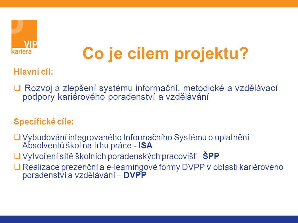 Hlavní cíl:  Rozvoj a zlepšení systému informační, metodické a vzdělávací podpory kariérového poradenství a vzdělávání Specifické cíle:  Vybudování integrovaného Informačního Systému o uplatnění Absolventů škol na trhu práce - ISA  Vytvoření sítě školních poradenských pracovišť - ŠPP  Realizace prezenční a e-learningové formy DVPP v oblasti kariérového poradenství a vzdělávání – DVPP Co je cílem projektu?