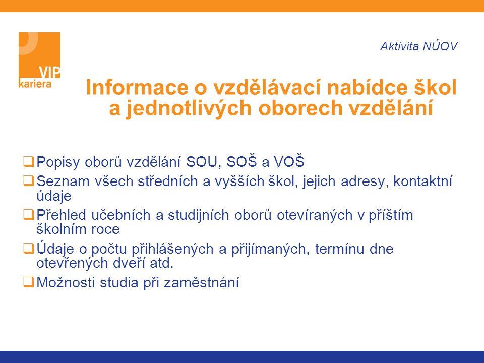 http://www.karieroveporadenstvi.cz http://www.vip.nuov.cz http://ekariera.nuov.cz http://www.infoabsolvent.cz Další informace naleznete na: