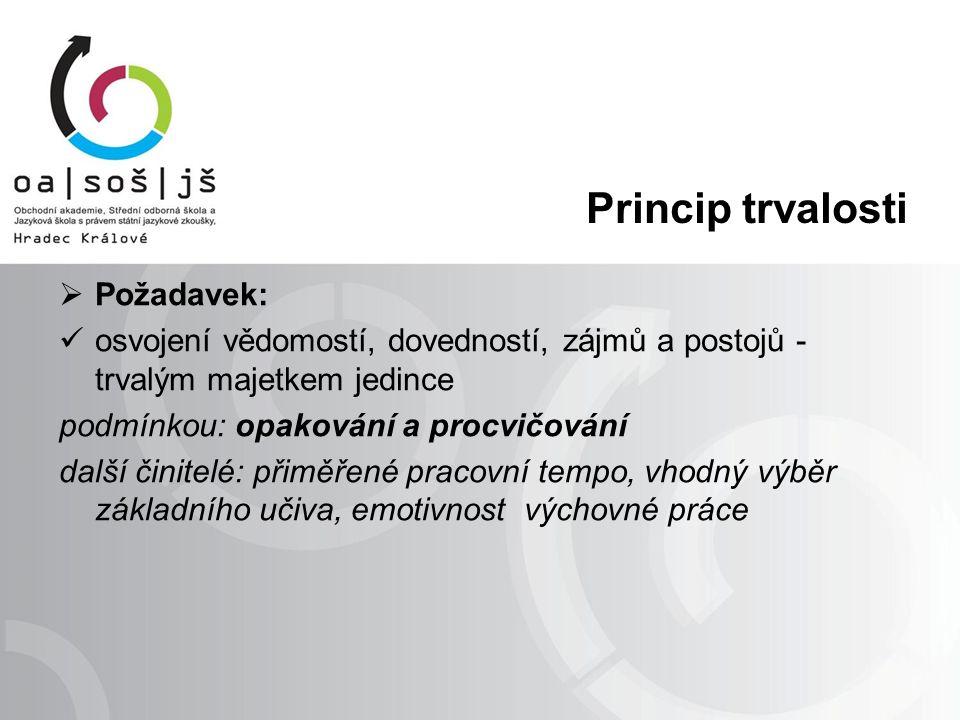 Princip trvalosti  Požadavek: osvojení vědomostí, dovedností, zájmů a postojů - trvalým majetkem jedince podmínkou: opakování a procvičování další či