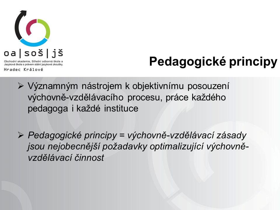 Pedagogické principy  Významným nástrojem k objektivnímu posouzení výchovně-vzdělávacího procesu, práce každého pedagoga i každé instituce  Pedagogi
