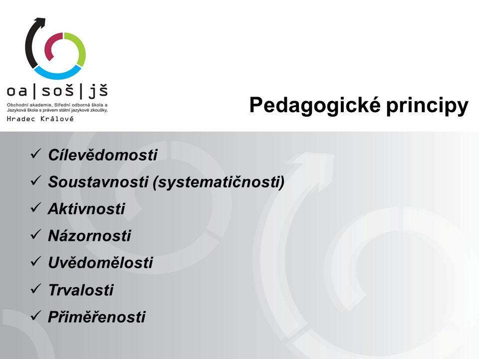 Pedagogické principy Cílevědomosti Soustavnosti (systematičnosti) Aktivnosti Názornosti Uvědomělosti Trvalosti Přiměřenosti