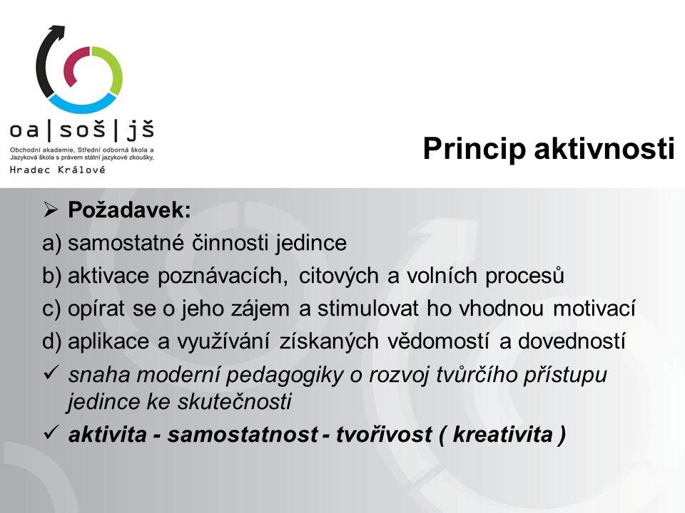 Princip aktivnosti  Požadavek: a)samostatné činnosti jedince b)aktivace poznávacích, citových a volních procesů c)opírat se o jeho zájem a stimulovat