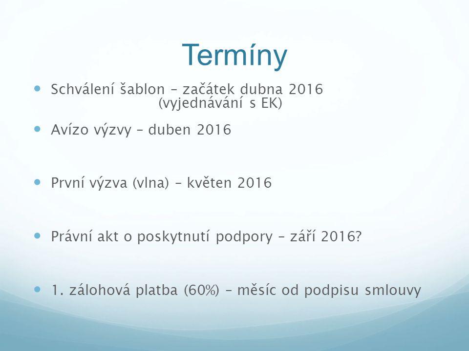 Termíny Schválení šablon – začátek dubna 2016 (vyjednávání s EK) Avízo výzvy – duben 2016 První výzva (vlna) – květen 2016 Právní akt o poskytnutí pod