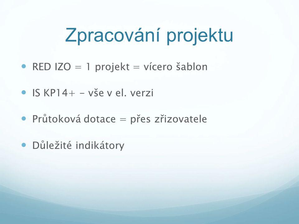 Zpracování projektu RED IZO = 1 projekt = vícero šablon IS KP14+ - vše v el. verzi Průtoková dotace = přes zřizovatele Důležité indikátory