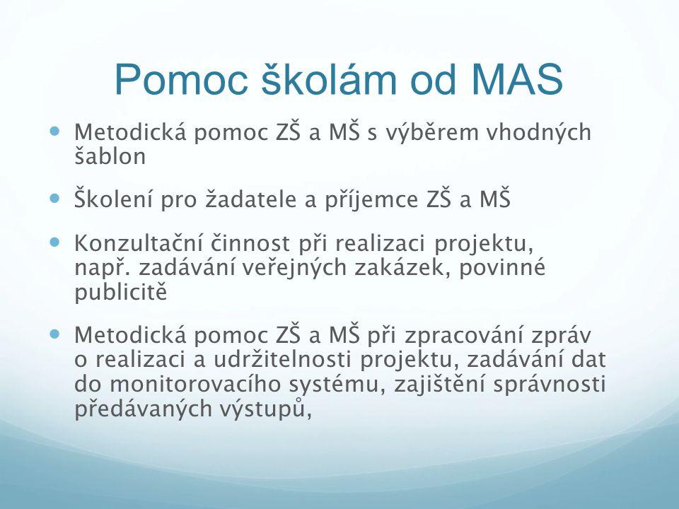 Pomoc školám od MAS Metodická pomoc ZŠ a MŠ s výběrem vhodných šablon Školení pro žadatele a příjemce ZŠ a MŠ Konzultační činnost při realizaci projek