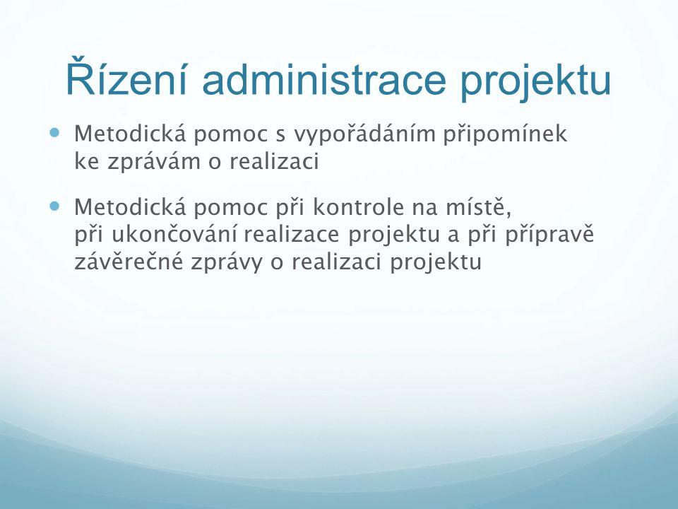 Řízení administrace projektu Metodická pomoc s vypořádáním připomínek ke zprávám o realizaci Metodická pomoc při kontrole na místě, při ukončování rea