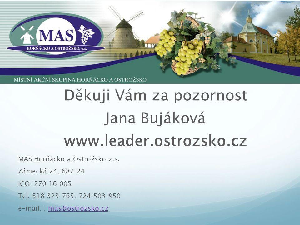 Děkuji Vám za pozornost Jana Bujáková www.leader.ostrozsko.cz MAS Horňácko a Ostrožsko z.s. Zámecká 24, 687 24 IČO: 270 16 005 Tel. 518 323 765, 724 5