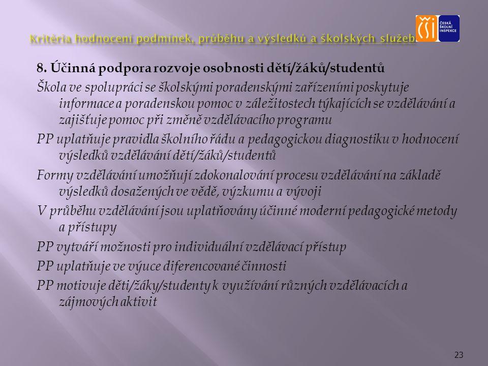 8. Účinná podpora rozvoje osobnosti dětí/žáků/studentů Škola ve spolupráci se školskými poradenskými zařízeními poskytuje informace a poradenskou pomo