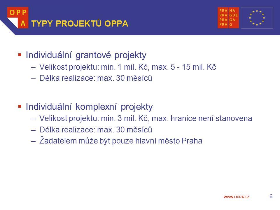 WWW.OPPA.CZ TYPY PROJEKTŮ OPPA  Individuální grantové projekty –Velikost projektu: min.