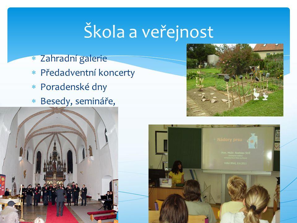  Zahradní galerie  Předadventní koncerty  Poradenské dny  Besedy, semináře, Škola a veřejnost