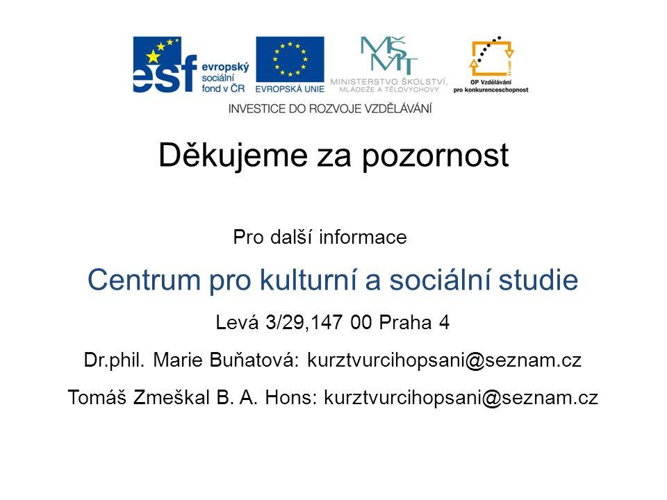 Děkujeme za pozornost Pro další informace Centrum pro kulturní a sociální studie Levá 3/29,147 00 Praha 4 Dr.phil. Marie Buňatová: kurztvurcihopsani@s