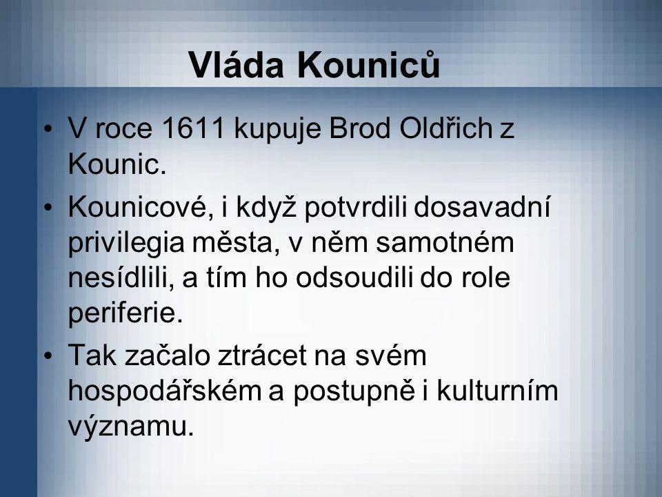 Vláda Kouniců V roce 1611 kupuje Brod Oldřich z Kounic. Kounicové, i když potvrdili dosavadní privilegia města, v něm samotném nesídlili, a tím ho ods
