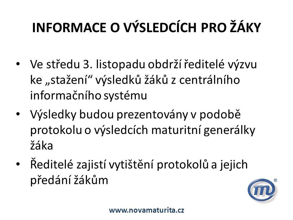 INFORMACE O VÝSLEDCÍCH PRO ŽÁKY Ve středu 3.