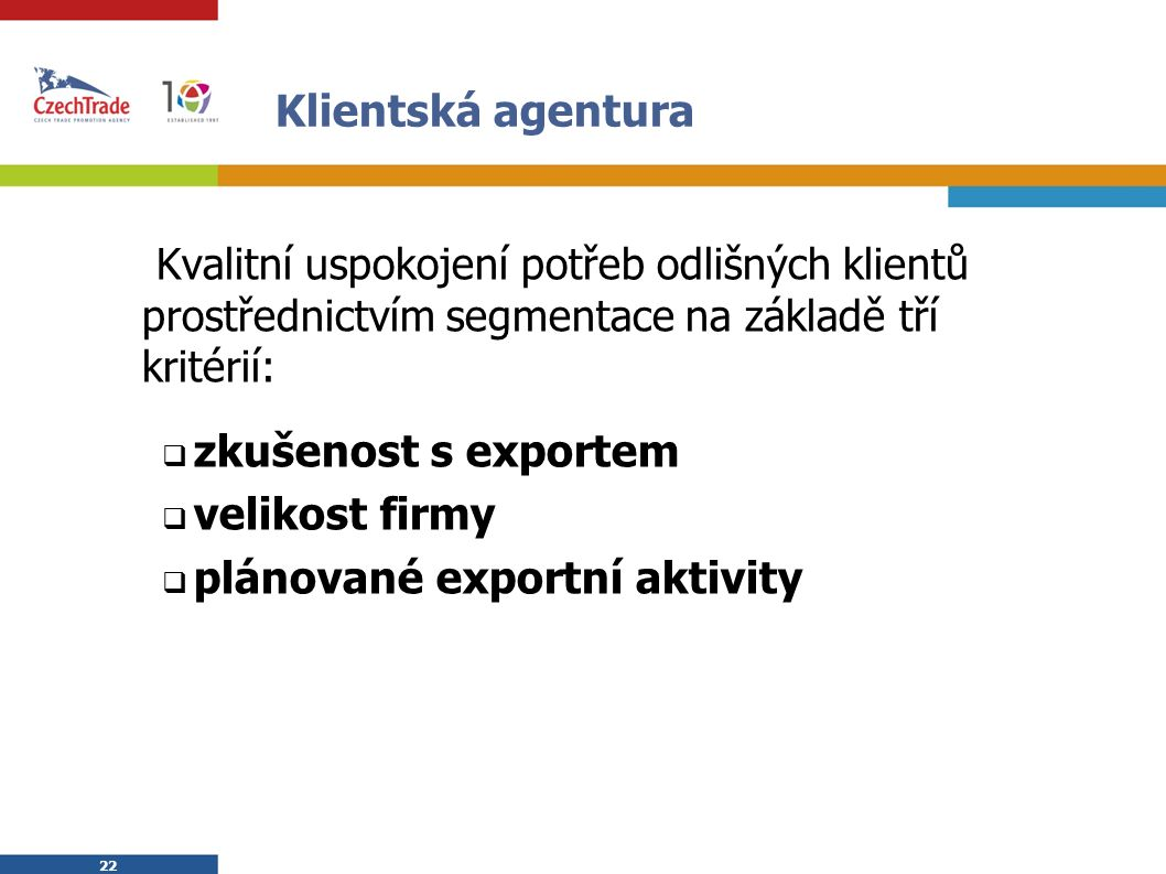 22 Klientská agentura Kvalitní uspokojení potřeb odlišných klientů prostřednictvím segmentace na základě tří kritérií:  zkušenost s exportem  velikost firmy  plánované exportní aktivity
