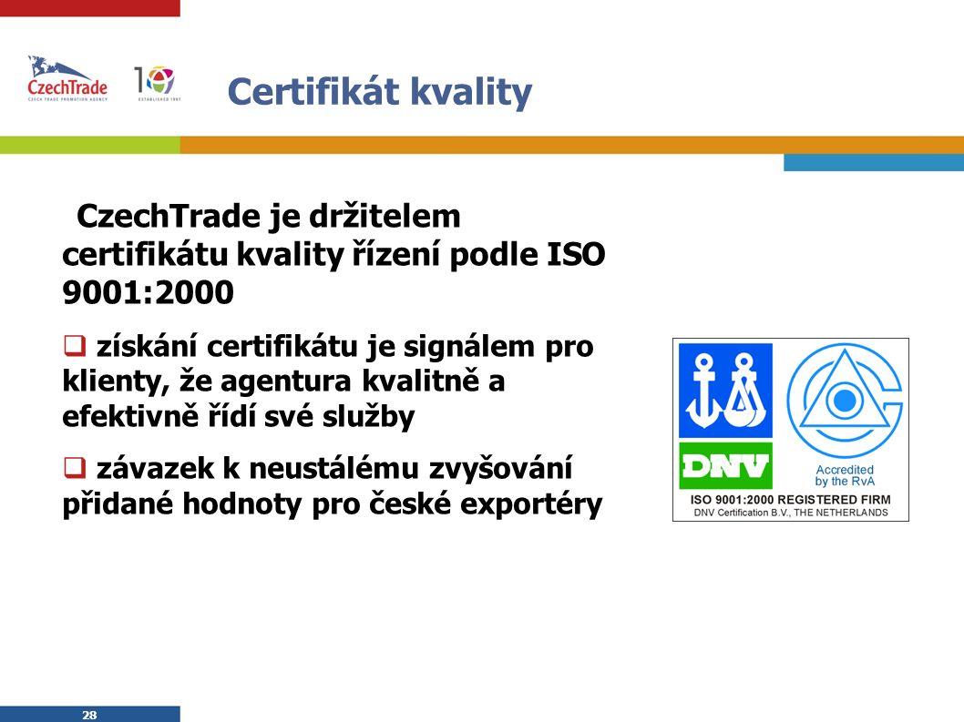 28 Certifikát kvality  CzechTrade je držitelem certifikátu kvality řízení podle ISO 9001:2000  získání certifikátu je signálem pro klienty, že agentura kvalitně a efektivně řídí své služby  závazek k neustálému zvyšování přidané hodnoty pro české exportéry