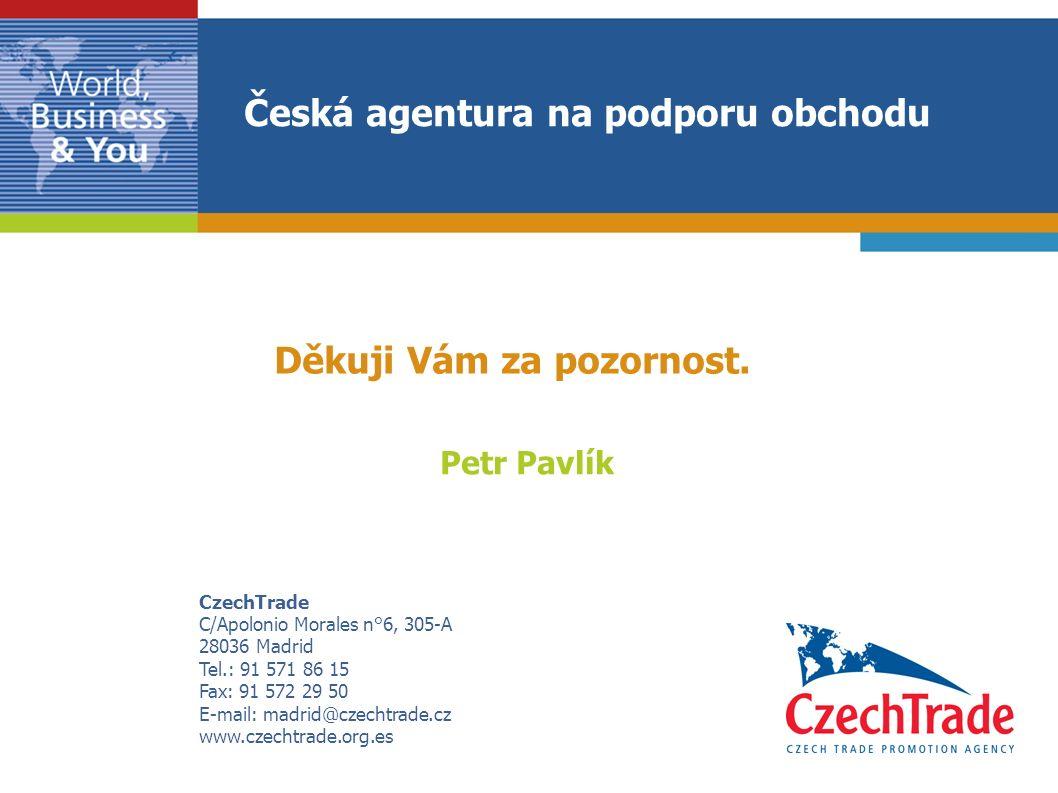 CzechTrade C/Apolonio Morales n°6, 305-A 28036 Madrid Tel.: 91 571 86 15 Fax: 91 572 29 50 E-mail: madrid@czechtrade.cz www.czechtrade.org.es Petr Pavlík Děkuji Vám za pozornost.