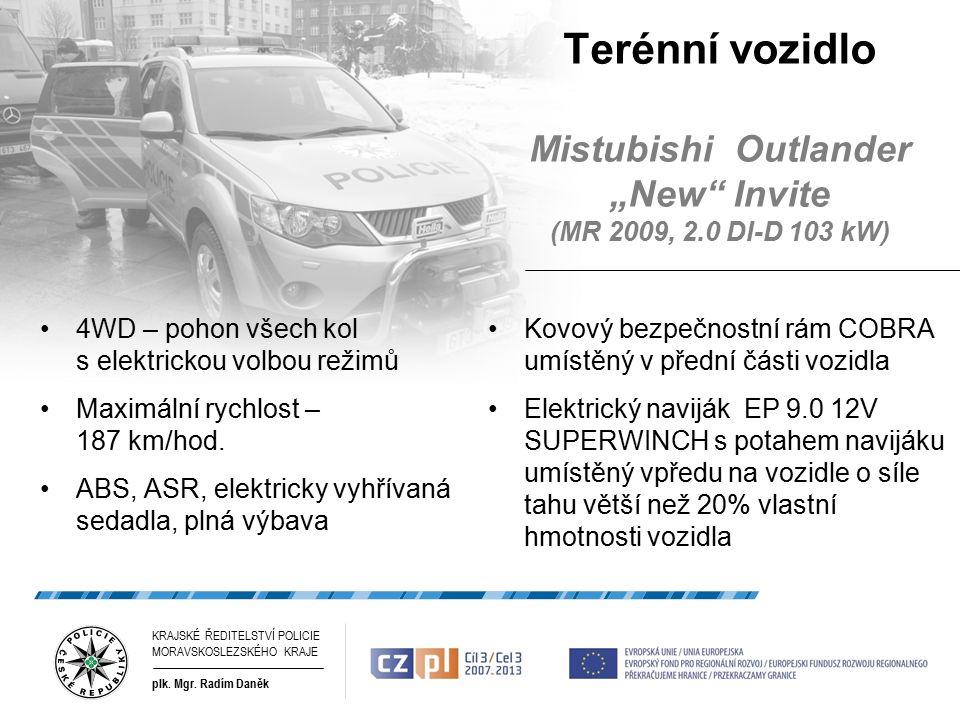 """Terénní vozidlo Mistubishi Outlander """"New Invite (MR 2009, 2.0 DI-D 103 kW) 4WD – pohon všech kol s elektrickou volbou režimů Maximální rychlost – 187 km/hod."""