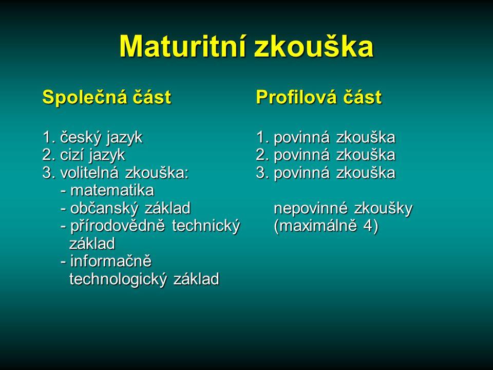 Maturitní zkouška Společná část 1.český jazyk 2. cizí jazyk 3.