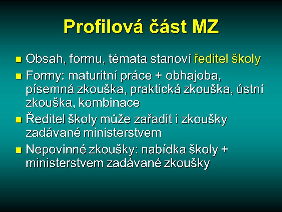 Společná část MZ obsah, formu a kritéria hodnocení určuje stát (MŠMT) obsah, formu a kritéria hodnocení určuje stát (MŠMT)  katalogy požadavků  školský zákon  prováděcí předpisy