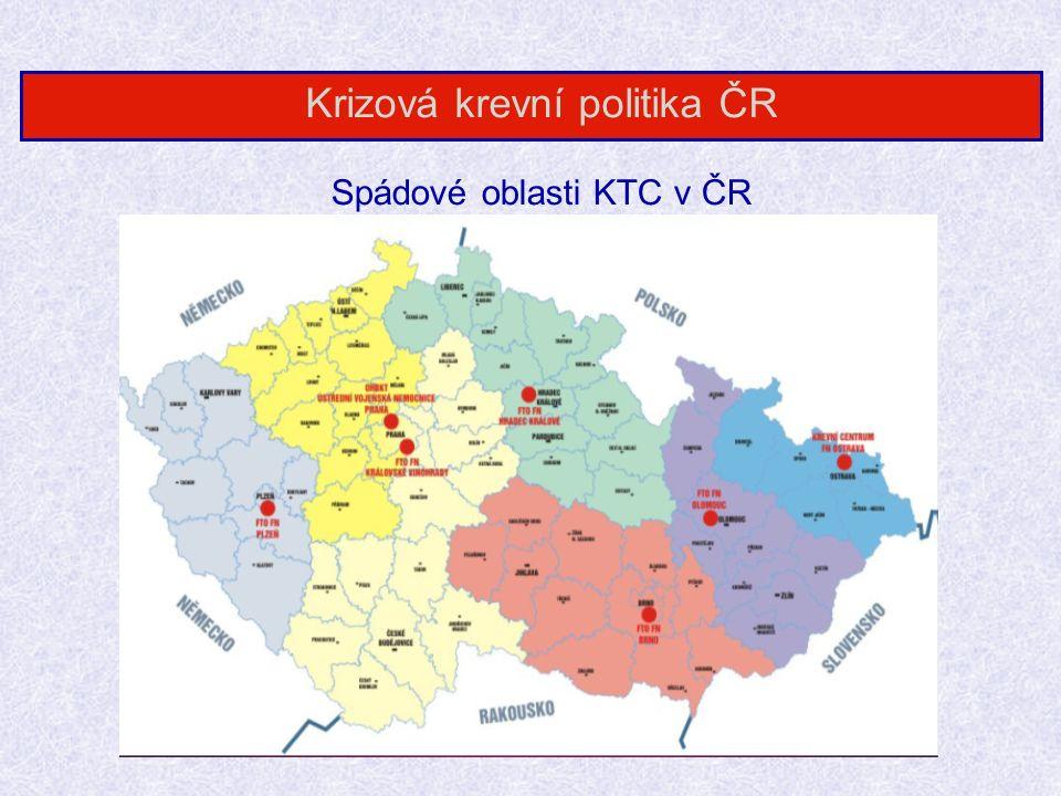 Spádové oblasti KTC v ČR Krizová krevní politika ČR