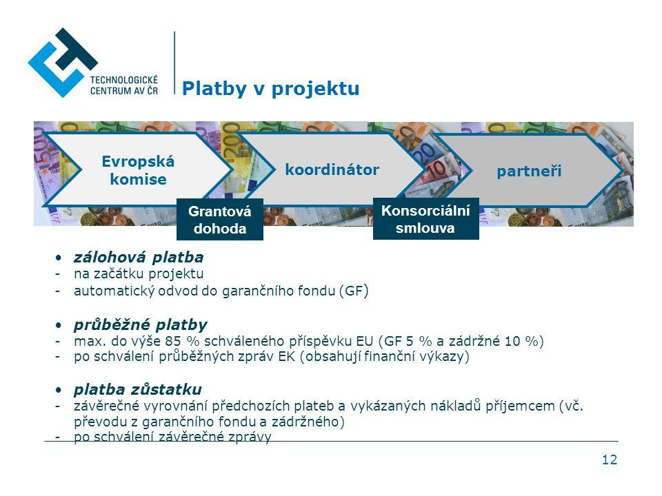 Platby v projektu 12 zálohová platba -na začátku projektu -automatický odvod do garančního fondu (GF ) průběžné platby -max.