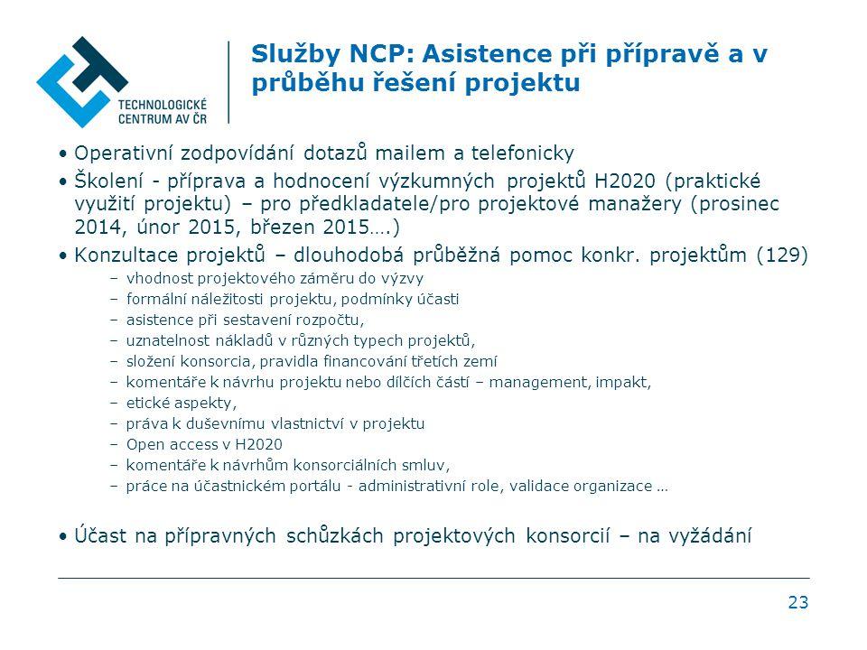 Služby NCP: Asistence při přípravě a v průběhu řešení projektu Operativní zodpovídání dotazů mailem a telefonicky Školení - příprava a hodnocení výzkumných projektů H2020 (praktické využití projektu) – pro předkladatele/pro projektové manažery (prosinec 2014, únor 2015, březen 2015….) Konzultace projektů – dlouhodobá průběžná pomoc konkr.