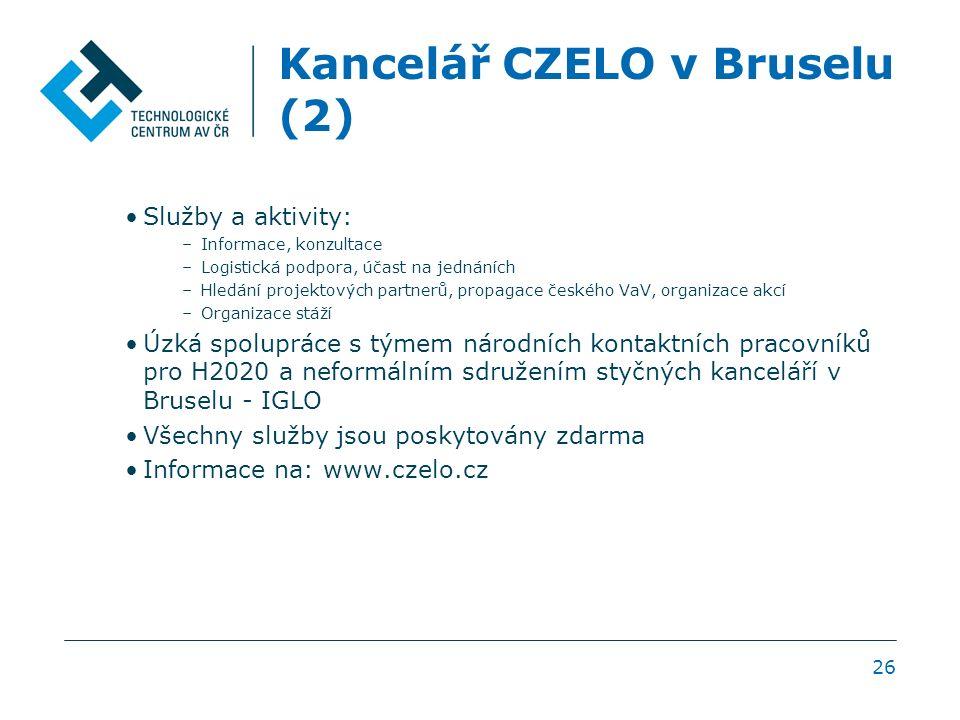 Kancelář CZELO v Bruselu (2) Služby a aktivity: –Informace, konzultace –Logistická podpora, účast na jednáních –Hledání projektových partnerů, propagace českého VaV, organizace akcí –Organizace stáží Úzká spolupráce s týmem národních kontaktních pracovníků pro H2020 a neformálním sdružením styčných kanceláří v Bruselu - IGLO Všechny služby jsou poskytovány zdarma Informace na: www.czelo.cz 26