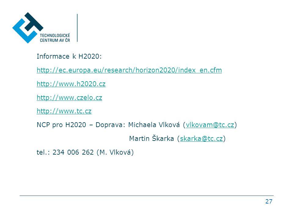27 Informace k H2020: http://ec.europa.eu/research/horizon2020/index_en.cfm http://www.h2020.cz http://www.czelo.cz http://www.tc.cz NCP pro H2020 – Doprava: Michaela Vlková (vlkovam@tc.cz)vlkovam@tc.cz Martin Škarka (skarka@tc.cz)skarka@tc.cz tel.: 234 006 262 (M.