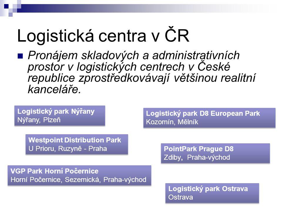 Logistická centra v ČR Pronájem skladových a administrativních prostor v logistických centrech v České republice zprostředkovávají většinou realitní kanceláře.