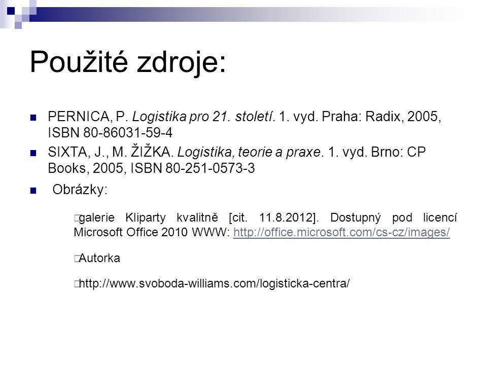Použité zdroje: PERNICA, P. Logistika pro 21. století. 1. vyd. Praha: Radix, 2005, ISBN 80-86031-59-4 SIXTA, J., M. ŽIŽKA. Logistika, teorie a praxe.