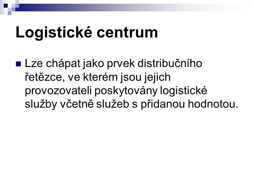 Logistická centra – logistické parky Smyslem logistických center je zejména zvýšit kvalitu a efektivnost přepravy a služeb a organizovanost toku zboží, Maximálně využít předností jednotlivých druhů doprav, vzájemně je provázat a optimalizovat, Logistické centrum podstatným způsobem rozšiřuje funkci dosavadního překladiště zboží a manipulačních jednotek mezi různými druhy dopravy a výrazně zmenšuje podíl živé práce.