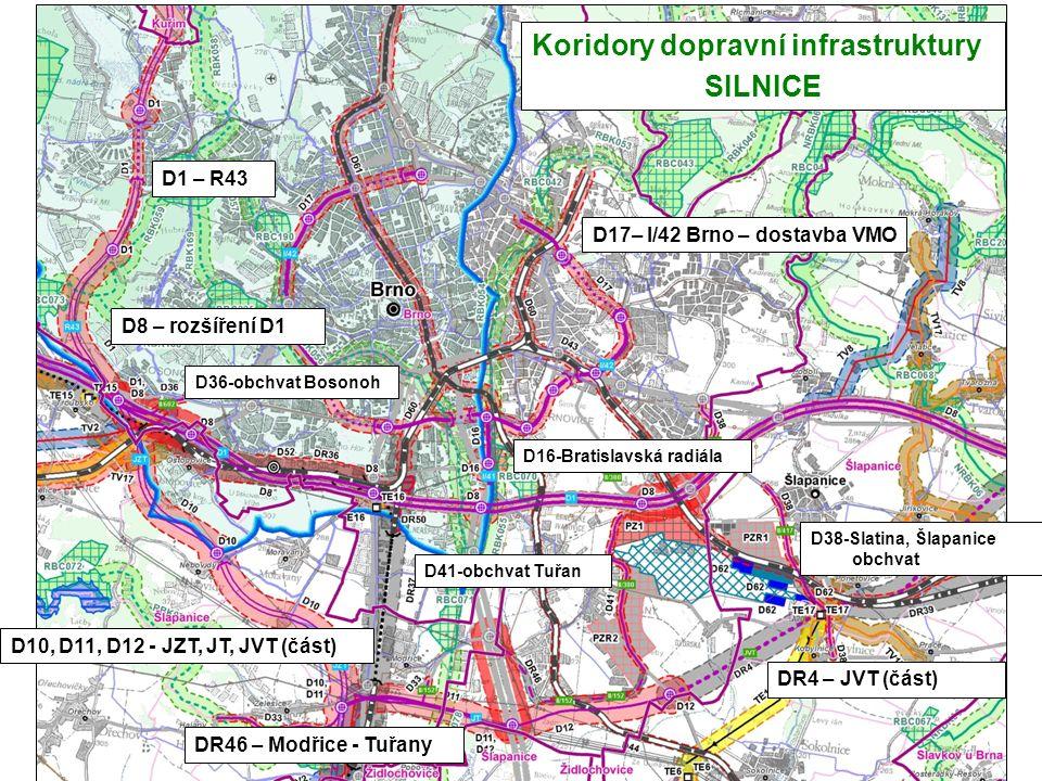 D10, D11, D12 - JZT, JT, JVT (část) D17– I/42 Brno – dostavba VMO D41-obchvat Tuřan D38-Slatina, Šlapanice obchvat D36-obchvat Bosonoh D16-Bratislavsk