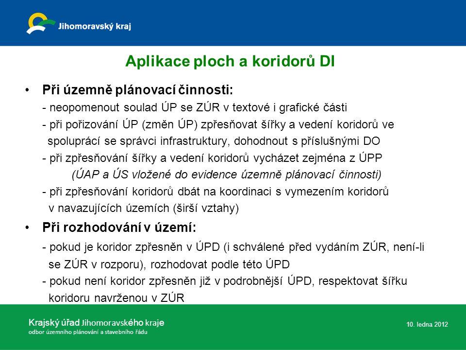 Aplikace ploch a koridorů DI Při územně plánovací činnosti: - neopomenout soulad ÚP se ZÚR v textové i grafické části - při pořizování ÚP (změn ÚP) zp