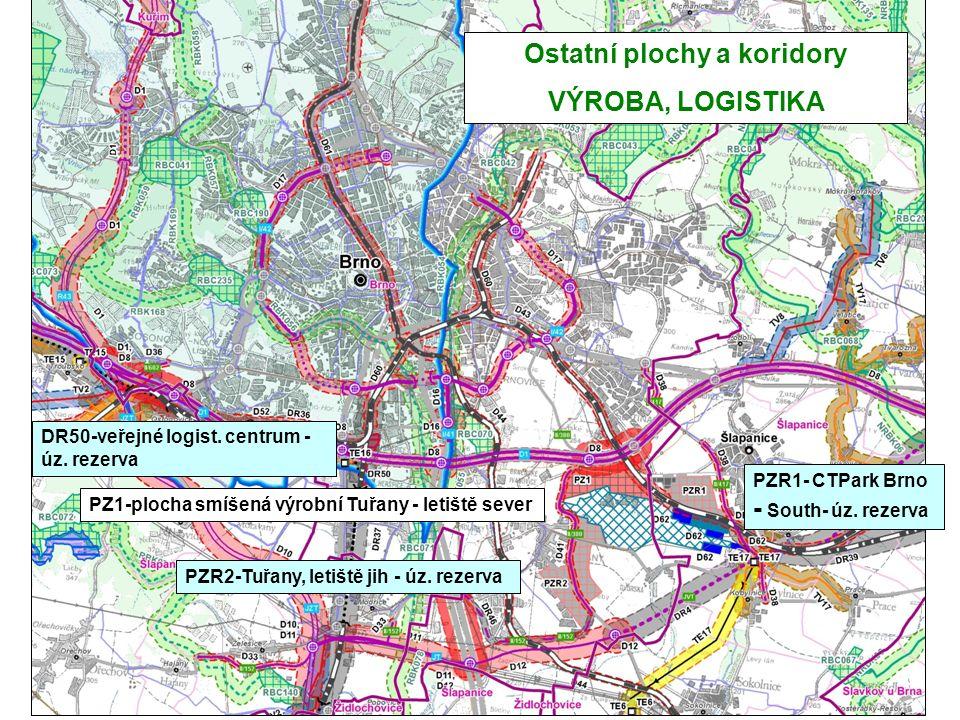 Ostatní plochy a koridory VÝROBA, LOGISTIKA PZ1-plocha smíšená výrobní Tuřany - letiště sever PZR1- CTPark Brno - South- úz. rezerva PZR2-Tuřany, leti