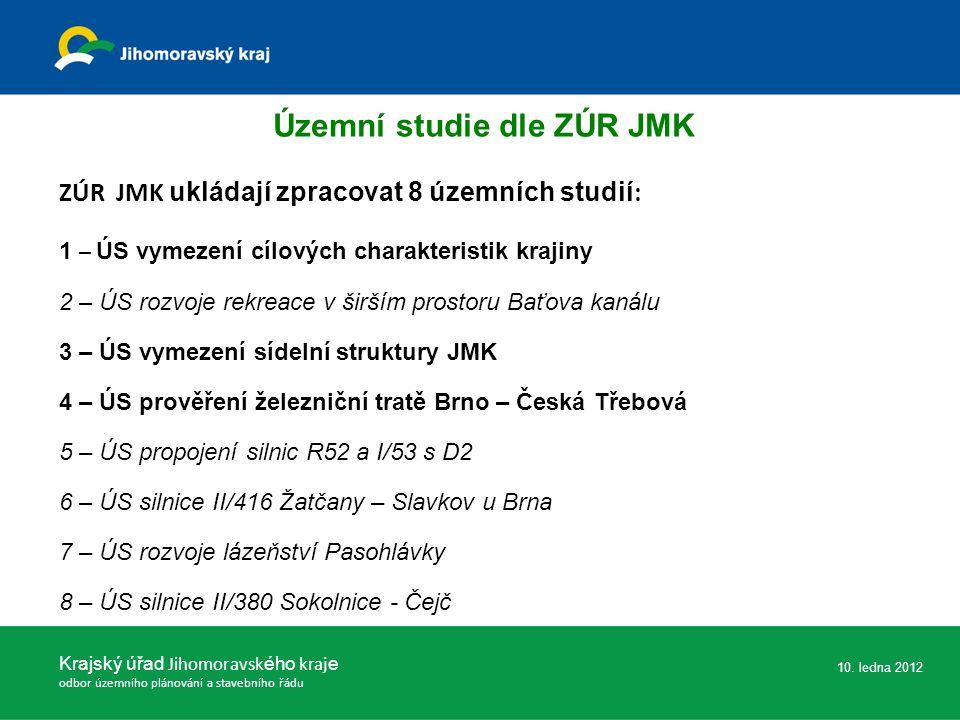 ZÚR JMK ukládají zpracovat 8 územních studií : 1 – ÚS vymezení cílových charakteristik krajiny 2 – ÚS rozvoje rekreace v širším prostoru Baťova kanálu 3 – ÚS vymezení sídelní struktury JMK 4 – ÚS prověření železniční tratě Brno – Česká Třebová 5 – ÚS propojení silnic R52 a I/53 s D2 6 – ÚS silnice II/416 Žatčany – Slavkov u Brna 7 – ÚS rozvoje lázeňství Pasohlávky 8 – ÚS silnice II/380 Sokolnice - Čejč Krajský úřad Jihomoravsk ého kraj e odbor územního plánování a stavebního řádu 10.