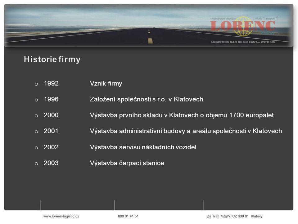 o 1992 Vznik firmy o 1996 Založení společnosti s r.o. v Klatovech o 2000 Výstavba prvního skladu v Klatovech o objemu 1700 europalet o 2001 Výstavba a