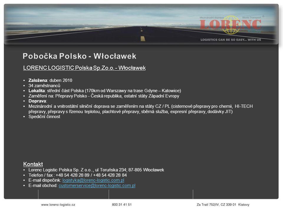LORENC LOGISTIC Polska Sp.Zo.o. - Włocławek Založena: duben 2010 34 zaměstnanců Lokalita: střední část Polska (170km od Warszawy na trase Gdyne – Kato