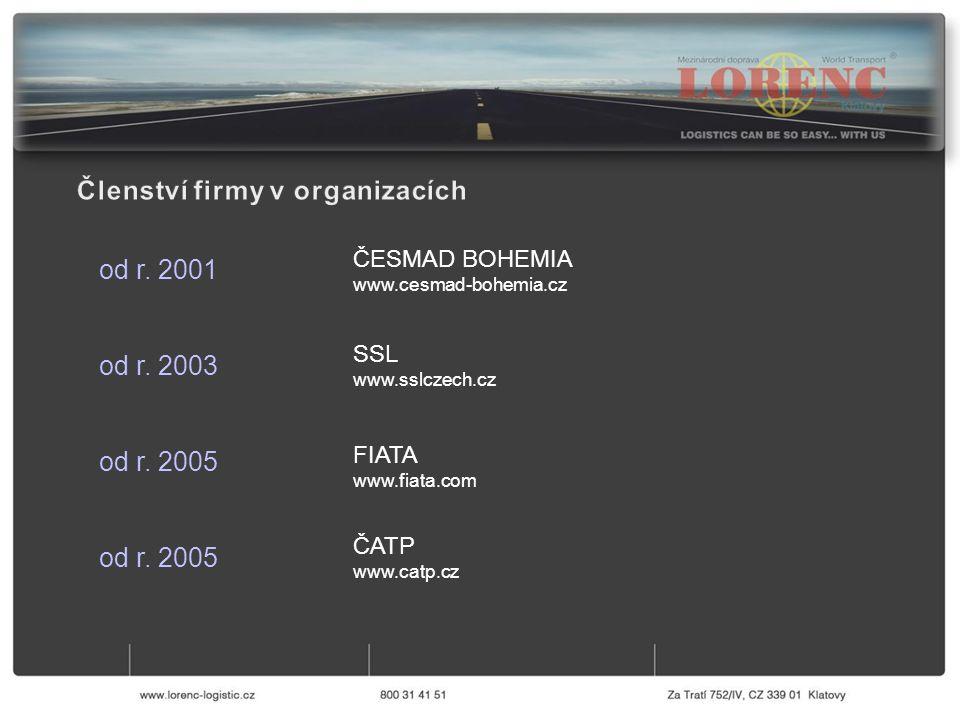 ČESMAD BOHEMIA www.cesmad-bohemia.cz od r. 2001 od r. 2003 od r. 2005 SSL www.sslczech.cz FIATA www.fiata.com ČATP www.catp.cz