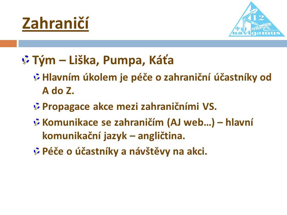 Zahraničí Tým – Liška, Pumpa, Káťa Hlavním úkolem je péče o zahraniční účastníky od A do Z.